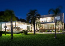 Dazzling landscape lighting idea for the pool area and the pool house
