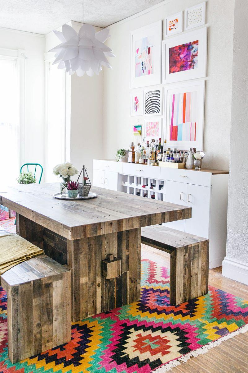 Dining room of A Beautiful Mess blogger Elsie Larson