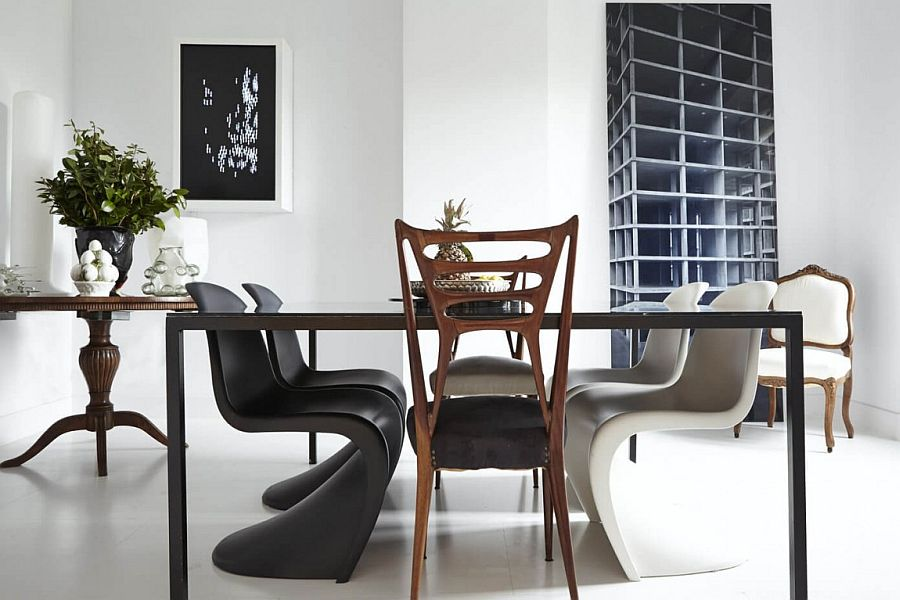 Dining table with Panton S Chair in black and white