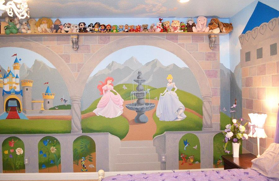 Disney wall mural for the guest room that doubles as a nursery [Design: Jack and Jill Interiors]