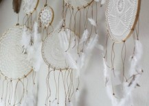 Doilies made into dreamcatchers