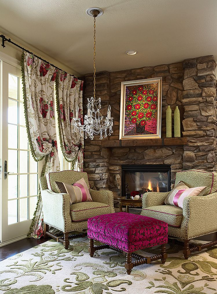 Drapes and rug add to the floral pattern in the room [Desgn: CIH Design]
