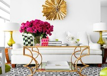 Eccentric gold coffee table with twists and turns [Design: Jan Showers]