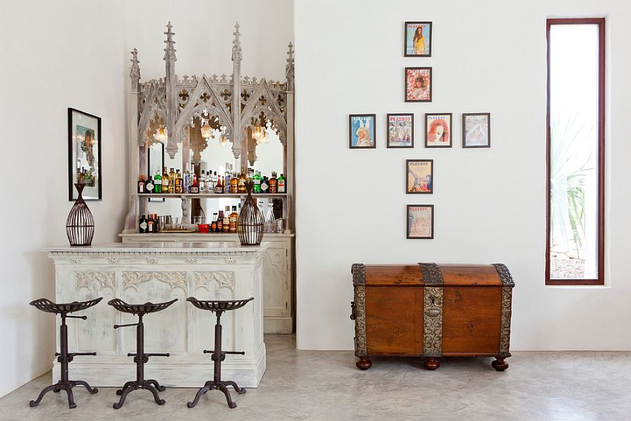 Eclectic home bar with Spanish flair [Design: Godrich Interiors]