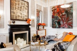 Eclectic living room celebrates art and color  50 Fabulous Coffee Tables that Usher in a Golden Glint Eclectic living room celebrates art and color 270x180