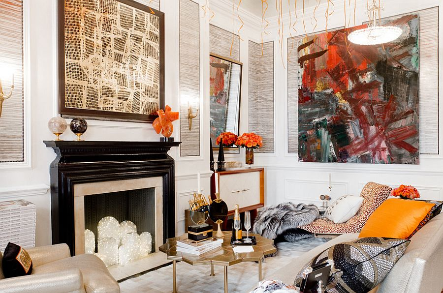 Eclectic living room celebrates art and color
