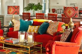 Eclectic living room that celebrates art and color! [Photography: Rikki Snyder]  50 Fabulous Coffee Tables that Usher in a Golden Glint Eclectic living room is filled with electric color and pattern 270x180