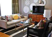 Eclectic-living-room-with-pops-of-color-and-wall-art-217x155