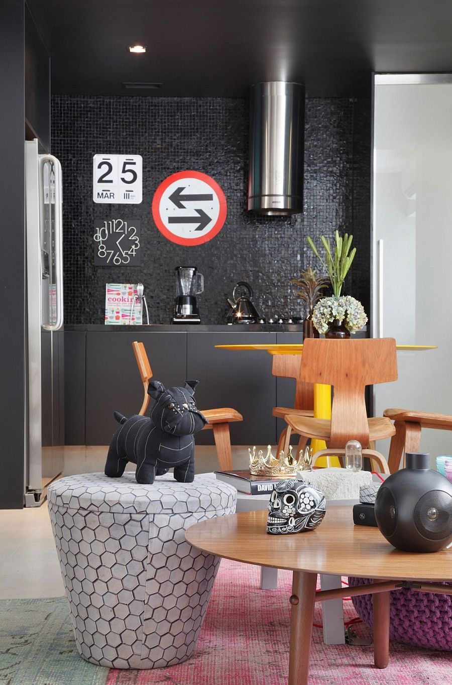 Eclectic mix of decor for the living room and kitchen