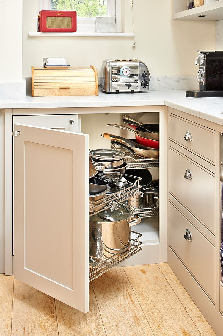 ... Elegant Corner Cabinets With Pullout Racks And Smart Drawers Are A  Popular Combination [Photography: