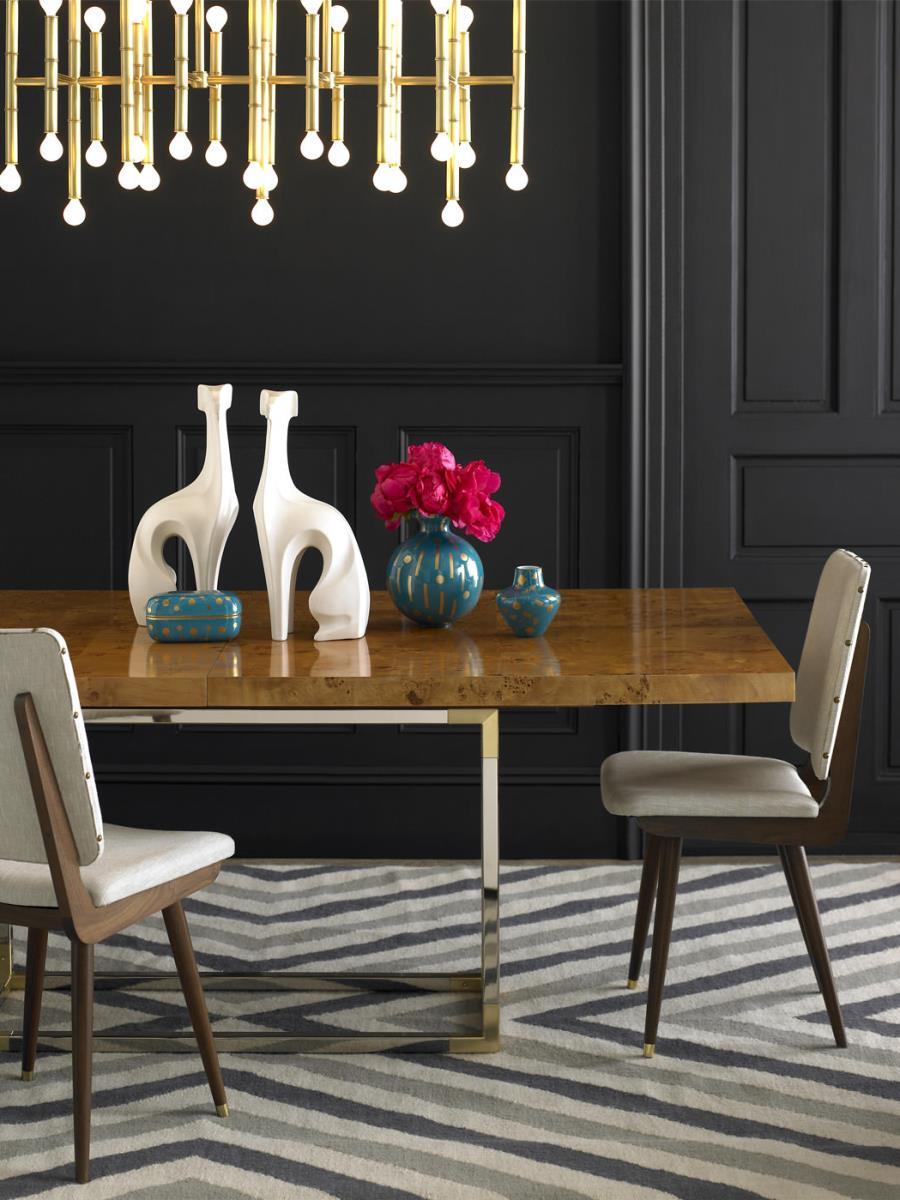 Elegant dining room with bold pendant lighting