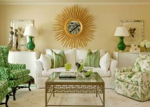 Elegant living room in grass green and gold from Hickory Chair