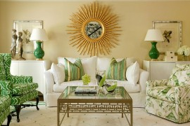 Elegant living room in grass green and gold from Hickory Chair  50 Fabulous Coffee Tables that Usher in a Golden Glint Elegant living room in grass green and gold from Hickory Chair 270x180