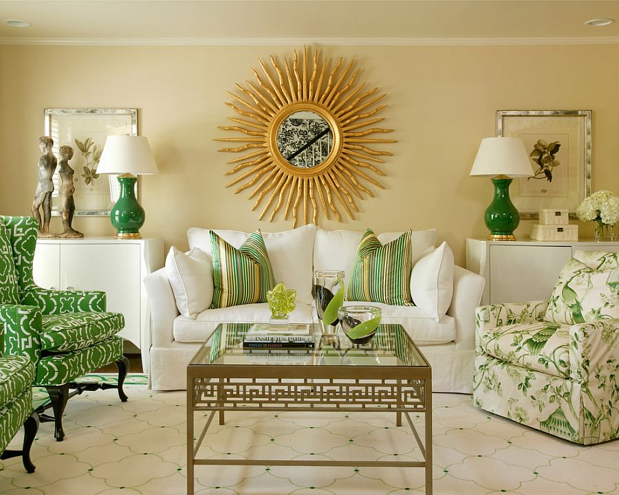 Elegant living room in grass green and gold from Hickory Chair [Design: Tobi Fairley Interior Design]