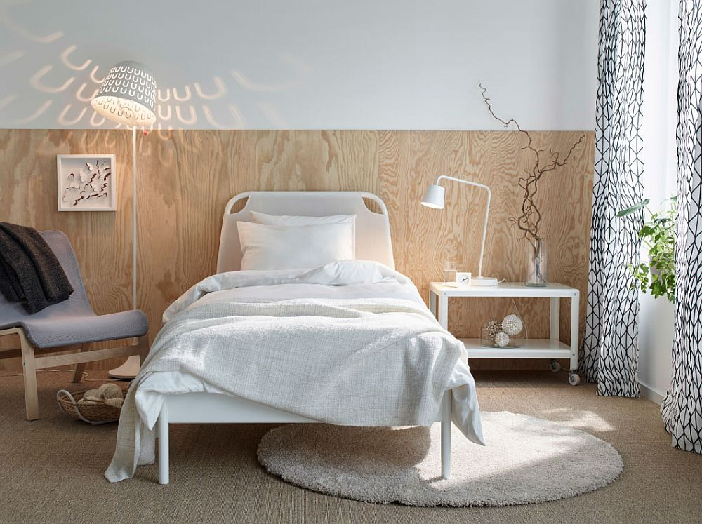 ... Elegant Wooden Bakdrop And TISDAG Floor Lamp Create A Refined Ambiance  In This Small Bedroom Setup