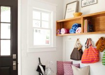 Entryway storage with overhead shelving