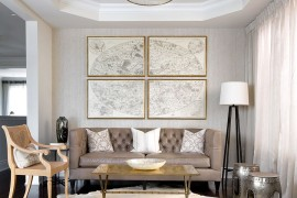 Exquisite gold coffee table for the contemporary living room from Cocoon Furnishings [Design: Toronto Interior Design Group - Yanic Simard]  50 Fabulous Coffee Tables that Usher in a Golden Glint Exquisite gold coffee table for the contemporary living room from Cocoon Furnishings 270x180