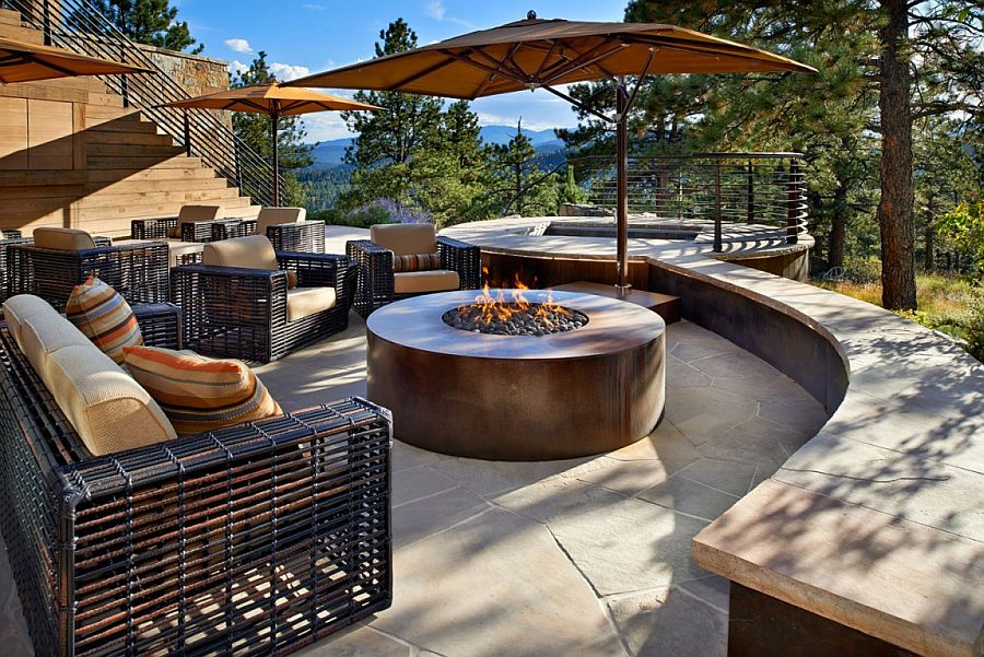 Exquisite outdoor patio with stunning views of the woods