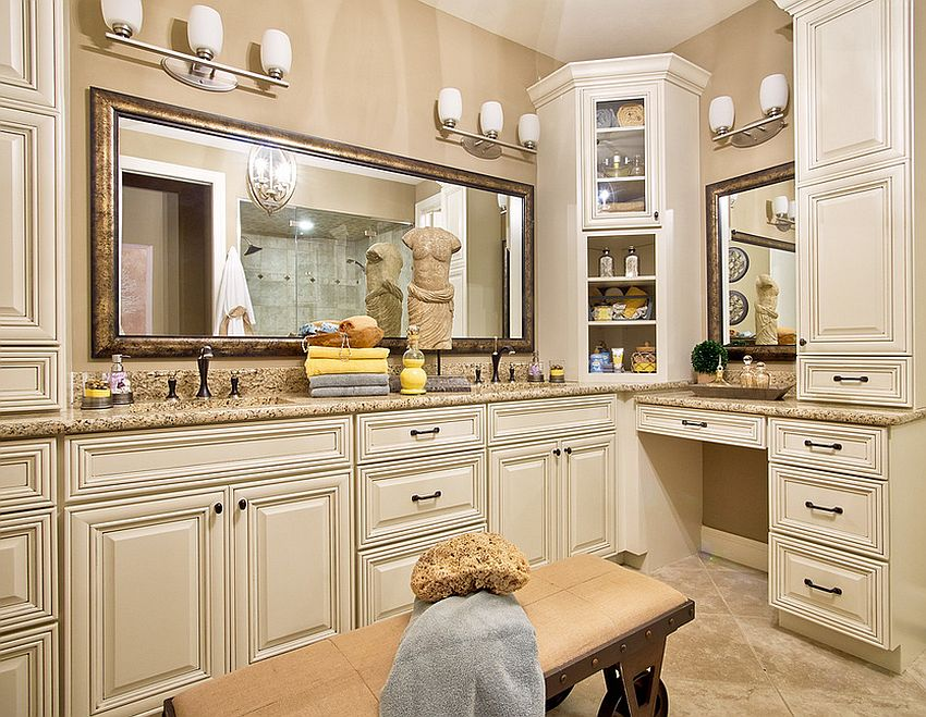 Extensive use of cabinets in the traditional bathroom [Design: Fischer & Frichtel]
