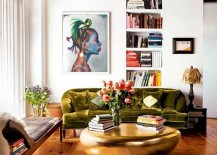 Fabulous gold coffee table graces the living room of Top Chef Host - Padma Lakshmi