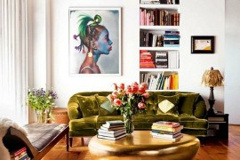 Fabulous gold coffee table graces the living room of Top Chef Host - Padma Lakshmi  50 Fabulous Coffee Tables that Usher in a Golden Glint Fabulous gold coffee table graces the living room of 270x180