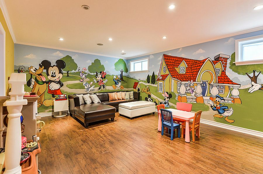 Fabulous mural of Mickey and friends in the playroom [Design: Murals By Marg]