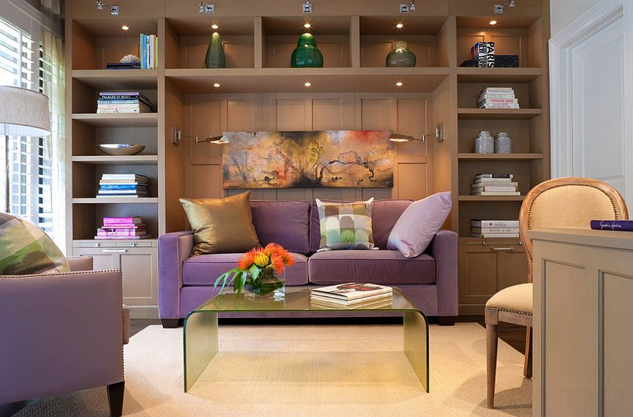 guest bedroomoffice ideas. Fabulous Sleeper Sofa In Purple And Sconce Lighting For The Guest Bedroom [Design: Cindy Bedroomoffice Ideas Decoist