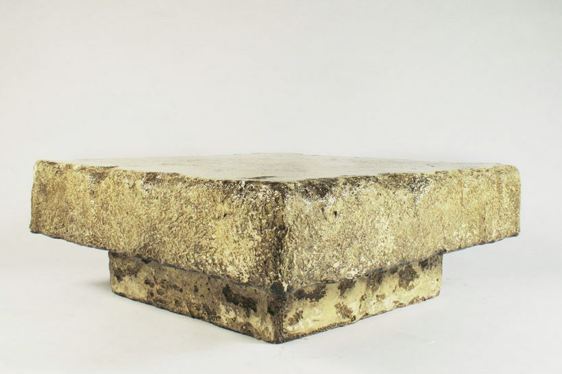 Faux chiseled stone coffee table