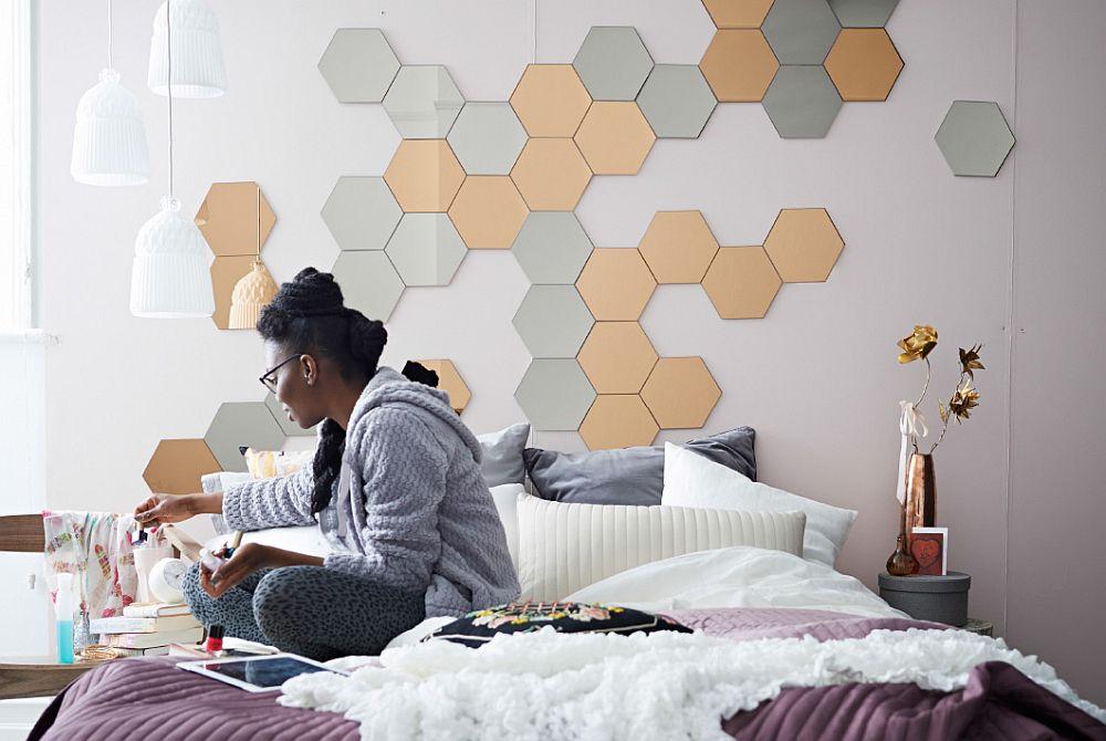 feminine bedroom with pretty pendants and geometric wall motif - Slate Bedroom 2015