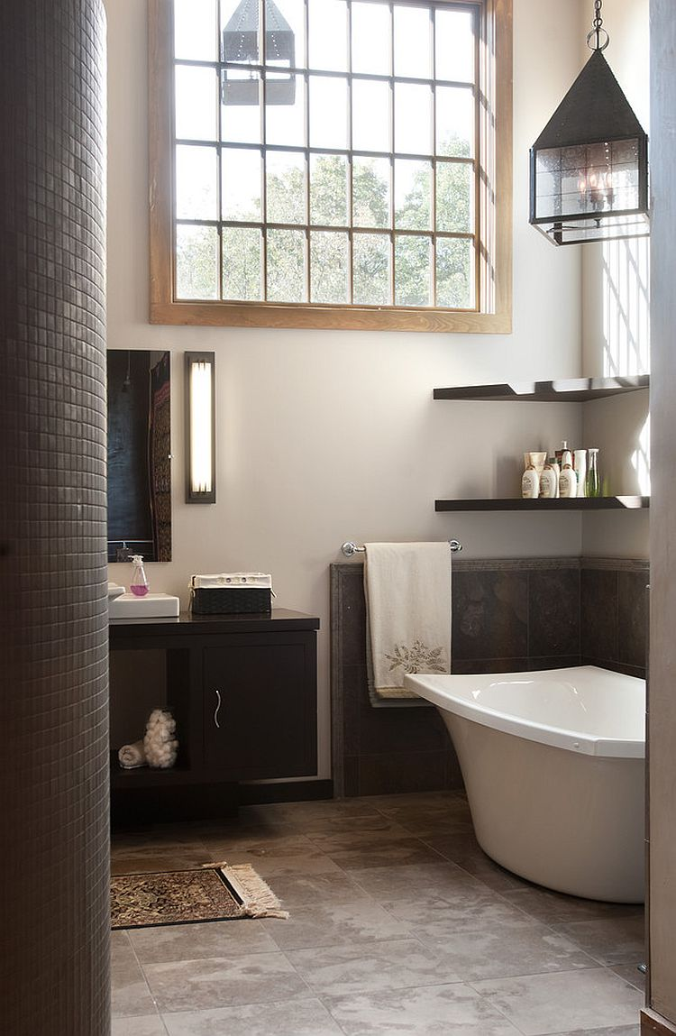 Floating shelves in the corner above the bathtub [Design: Wolstenholme Associates]
