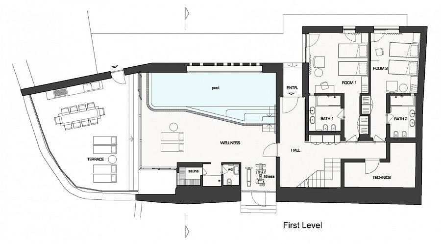 Floor plan of the luxurious seaside home in Novigrad