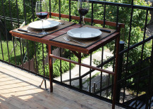 Foldable table attached to balcony