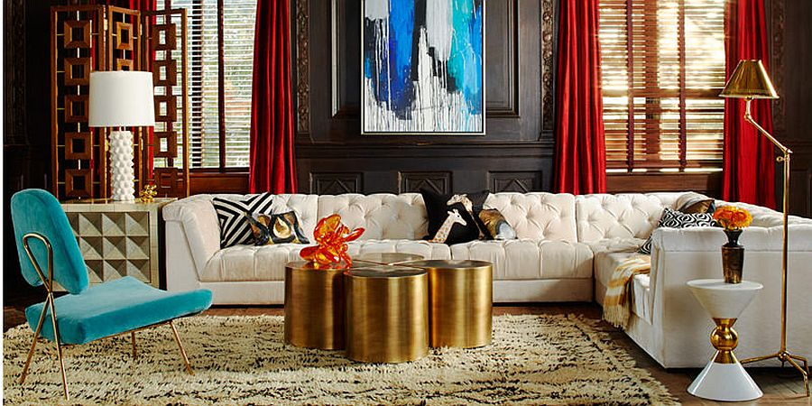 Four Brass Teardrop Tables turned into a coffee table in the living room 50 Fabulous Coffee Tables That Usher in a Golden Glint