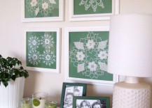 Framed doilies as wall art 217x155 15 Elegant Ways to Decorate with Lace
