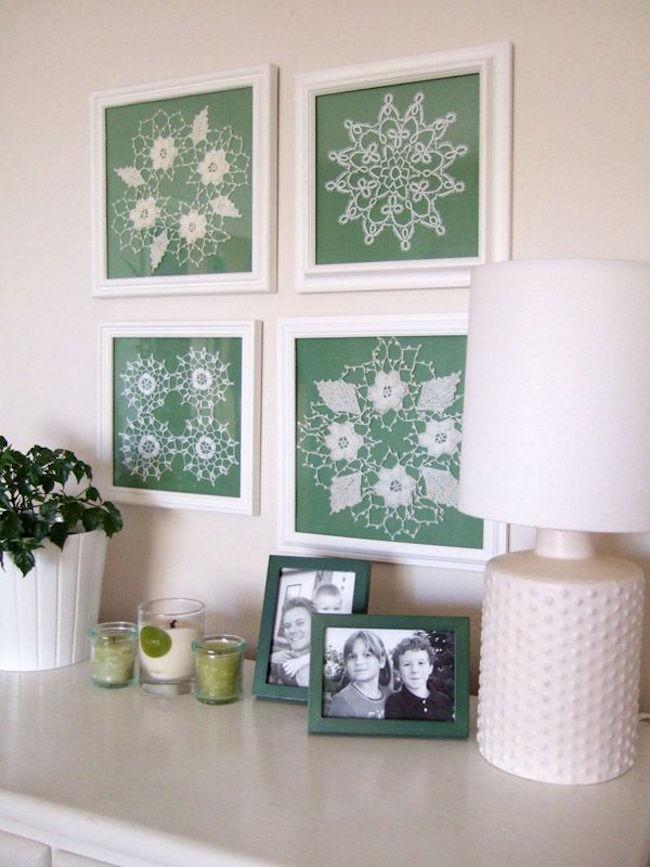 Framed doilies as wall art