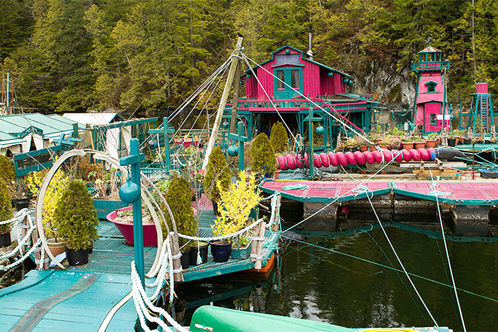 Freedom Cove Self-Sustaining Floating Oasis Pink Buildings