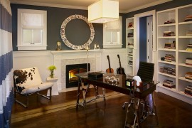 funky home office. Funky Art Work Above The Fireplace Replaces A Traditional Mirror [Design: Andrea Schumacher Interiors Glamorous Home Office