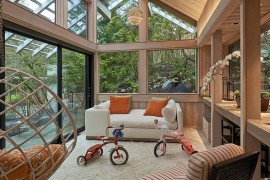 Gabled roof and woodsy warmth greet this contemporary sunroom [Design: Richard Brown Architect]  50 Bright and Beautiful Contemporary Sunrooms Gabled roof and woodsy warmth greet this contemporary sunroom 270x180