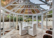 Gazebo-shaped sunroom that is all about glass