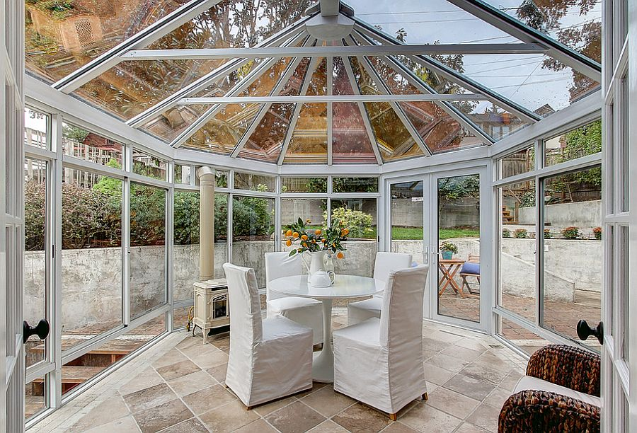 Gazebo-shaped sunroom that is all about glass [From: TCPeterson Photography]  50 Bright and Beautiful Contemporary Sunrooms Gazebo shaped sunroom that is all about glass