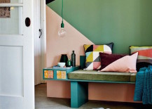Geometric painted walls with accent pillows