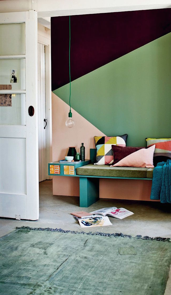22 clever color blocking paint ideas to make your walls pop - Geometric wall designs with paint ...