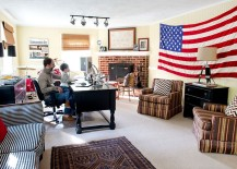Giant flag is an easy way to add color to your home office [Design: Lesley Glotzl]
