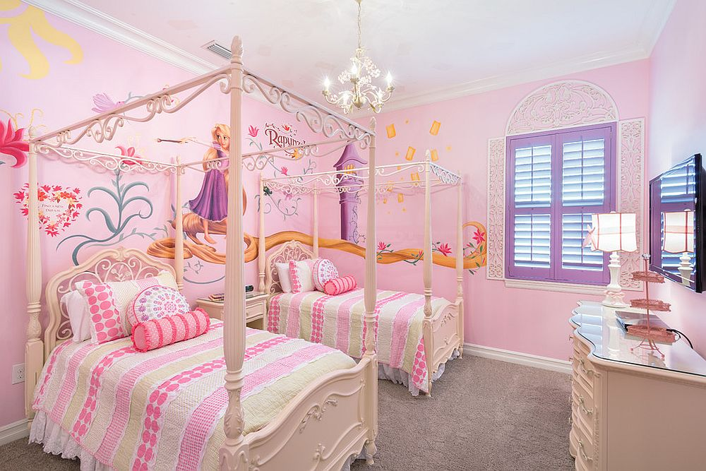 Glamorous girls' bedroom inspired by Disney's Rapunzel [Design: Legacy Custom Built Homes]