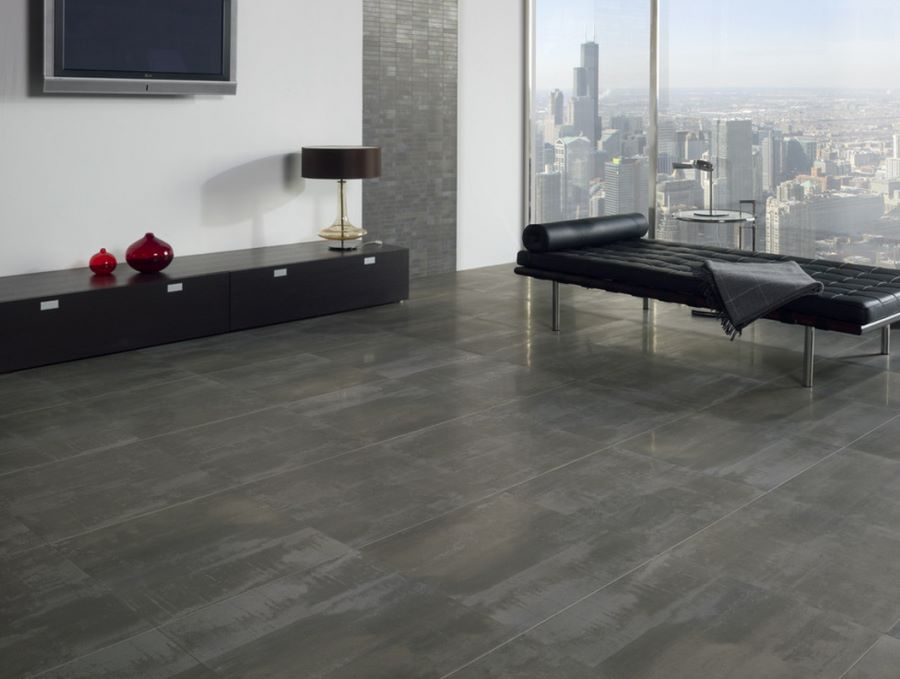Make a statement with large floor tiles Porcelain tile flooring
