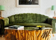 Gold Coffee table coupled with a lovely green couch [Design: Viya Interiors]
