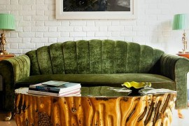 Gold Coffee table coupled with a lovely green couch [Design: Viya Interiors]  50 Fabulous Coffee Tables that Usher in a Golden Glint Gold Coffee table coupled with a lovely green couch 270x180