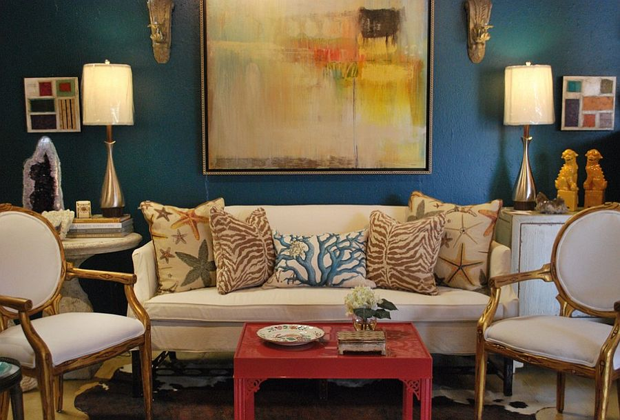 Gold and turquoise eclectic living room [Design: Anna Lattimore Interior Design]