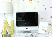 Gold confetti style polka dot wall decals for home office 217x155 8 Fun and Easy Ways to Use Polka Dot Wall Decals