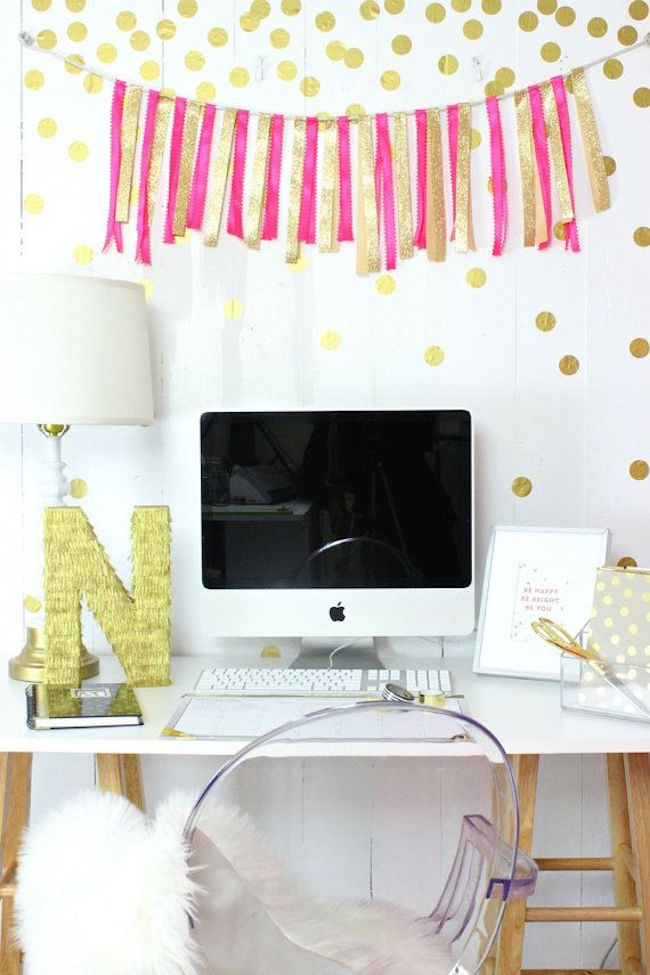 Gold confetti-style polka dot wall decals for home office